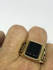 Vintage Gold Stainless Steel Black Onyx Size 10 Men's Greek Ring