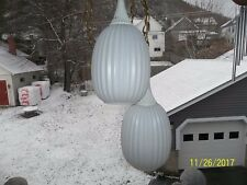 VTG MID CENTURY DOUBLE SWAG LAMP RIBBED WHITE GLASS GLOBES HOLLYWOOD REGENCY ERA