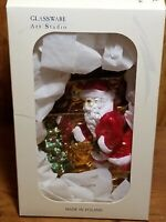 "Glassware Art Studio Christmas Ornament Santa Claus 4.5"" Handcrafted Poland NIB"