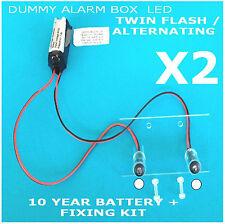 Doble flash/alternando blanco LED Disuasorio Alarma Caja Kit 10 año Batt (Twin Pack)
