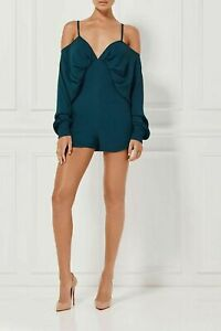 MISHA COLLECTION 'Chastity' Deep Green Cold Shoulder Playsuit Romper Size AU 8