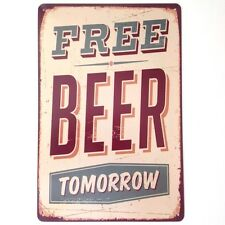 RETRO METAL WALL SIGN TIN VINTAGE FUNNY KITCHEN 'FREE BEER' GIFT BAR PUB LOUNGE