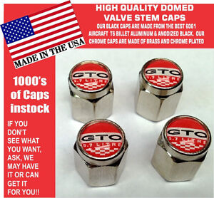 Chrome Pontiac GTO 5.7  LS2 Red Valve Stem Caps All Metal - Nice!