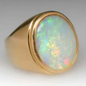 14K Yellow Gold Overlay Oval Fire Opal 8.38Ct Men's Ring Wedding Gift For Men's