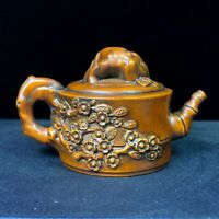Collectible Old Boxwood Carved Plum Blossom Hand Pieces Teapot Statue Arts