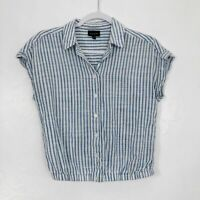 Who What Wear Blue & White Striped Button Front Cuffed Sleeve Shirt - Size XS