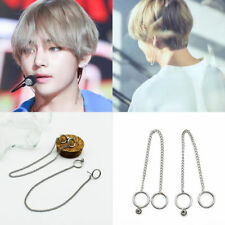 Novelty KPOP BTS V Earrings Bangtan Boys V Stud Doulbe Ring Chain Earrings