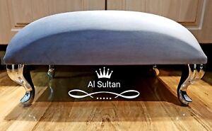 Large Plush Velvet Pouffe Footstool With Chrome Queen Anne Design Feet