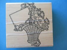 FLOWER BASKET WITH CARD Rubber Stamp