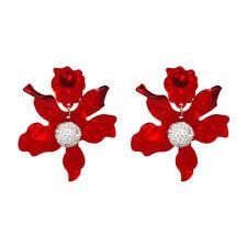 Pendientes Plateado Floral Metal Hileras Cristal Blanco Resina Rojo AA28