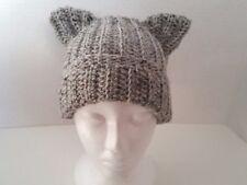 Handmade Womens Gray Cat Beanie Hat Neko Hat Acrylic One Size