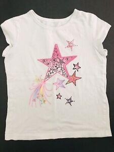 Circo Girls Size Medium M White Short Sleeve T-Shirt Top Stars Print