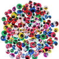 200 Googly Eyes Craft Coloured Eyelashes New Wobbly Mixed Sizes 5 Colours STICKY