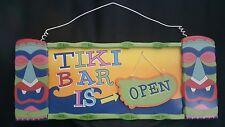 Tiki Bar Open Close Sign Wood Tiki Masks Footprint In The Sand Beach Ocean Sign