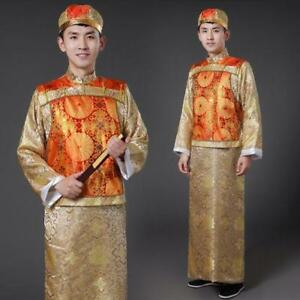 Chinese Traditional Men Qing Clothing Emperor Prince Robe Show Cosplay Costume