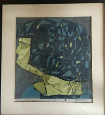 Vintage 1960s Mid Century Abstract Cubist Serigraph Print Signed Titled Framed
