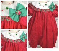 Vintage Sz 3T Girl Red Christmas Dress Rare Editions Union Made Label Plaid