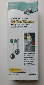 Medline 5 Inch Walker Wheels Pair With Glide Caps New In Box
