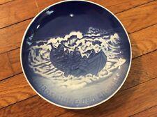 "Bing & Grondahl B& G 1985 Christmas Plate ""Lifeboat At Work"" 9"" Blue & White"