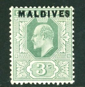 Edward VII Ceylon 3c Green stamp with Maldives overprint (SG2) 1906 mint