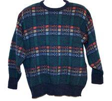 Moffat Woollens 100% Wool Mens XL 44 Blue Plaid Crew Neck Sweater Scotland
