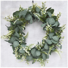 Artificial Flower Eucalyptus Leaves Wreath With Green Leaves In/outdoor Wall Dec