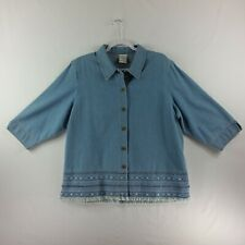 Allison Daley Womens Button Front Denim Top Blue Short Sleeve Embroidery
