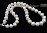 """17"""" 9-10mm near round freshwater pearl necklace Free shipping"""