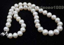 "17"" 9-10mm near round freshwater pearl necklace Free shipping"