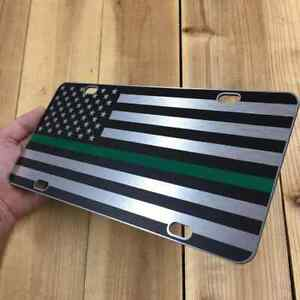 HD Thin Green Line American Flag License Plate Matte Black on Brushed Aluminum
