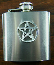 Pentagram 3oz Stainless Hip Flask FREE UK POST Pentangle pagan witch craft