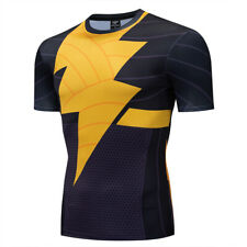 Men Superhero Black The Flash Quick-Drying 3D Print Cosplay Compression T-shirt
