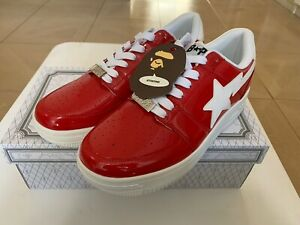 AUTHENTIC A BATHING APE BAPE BAPESTA LOW BAPE STA RED US 10 NEW SNEAKERS