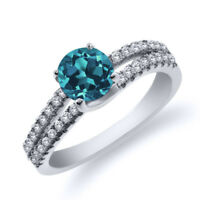 0.93 Ct Round London Blue Topaz 925 Sterling Silver Ring