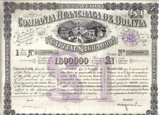 Original Bolivia Bond 1928 Huanchaca Company 1 share £1 Uncancelled Deco coupon