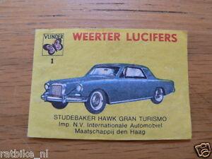 01 WEERTER LUCIFERS STUDEBAKER HAWK GRAN TURISMO,MATCHBOX LABELS,ETIKETTEN