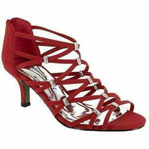 Easy Street Women Strappy Gladiator Sandals Nightingale Red Lamy Fabric