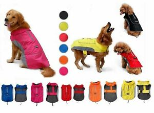 SMALL LARGE dog waterproof high quality rain coat jacket clothes collar/harness