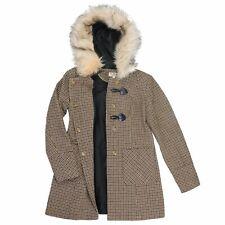 Ladies MISS SELFRIDGE Wool Blend Duffle Coat with Hood Faux Fur Trim Size UK 8