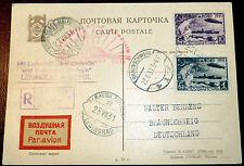 Reco Karte Sowjetunion Zeppelin Polarfahrt 1931 Leningrad Malyguin Braunschweig