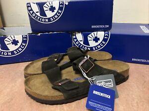 Birkenstock Arizona Mocha Suede Soft Footbed Sandals Men's 45 (US 12M)