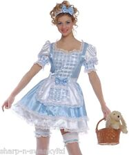 Ladies 4 Pc Sexy Blue Dorothy Wizard of Oz Book Day Fancy Dress Costume Outfit