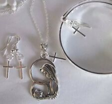 "Sterling Silver*Chain20""""+925 Bangle mum/baby Pendant+ 925 Earings/In A Box"