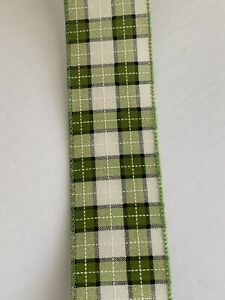 """10 Yds Of 2 1/2"""" Wired Moss & Cream Plaid Faux Burlap Ribbon White Accents"""