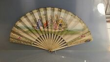 Victorian fan with painted scenes carved stays & flirting mirror