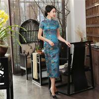Chinese National Long Cheongsam Women Silk Satin Maxi Dress Ball Gown S-3XL