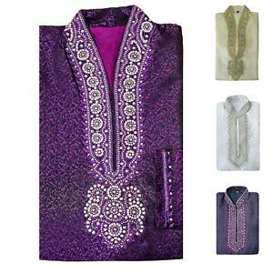 Men's Indian  Jacquard Kurta Pajama  Sherwani Traditional Outfit  GR1000