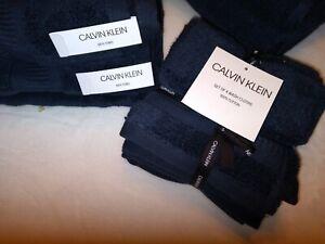 Calvin Klein Eight Piece Solid Navy Blue Bathroom Towel Set 100% Cotton NWT
