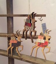 Gisela Graham set of 3 wooden reindeer Hanging Christmas tree decorations 15129
