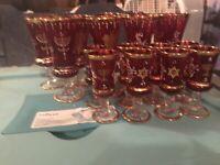 VTG JUDAICA RUBY RED GLASS Passover MURANO stemware Star of David (Set Of 15)